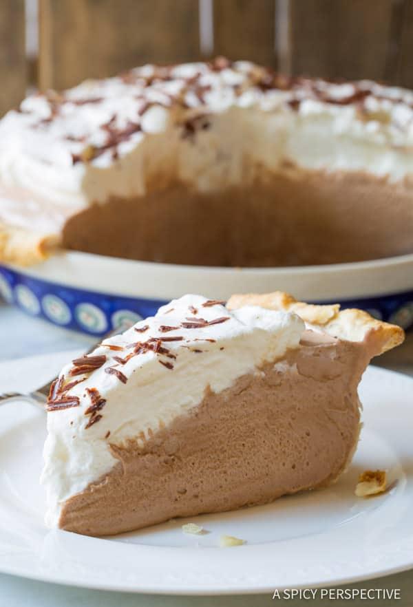 Best Fluffy French Silk Pie Recipe | ASpicyPerspective.com