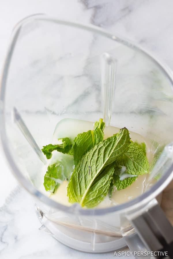Making Frozen Coconut Mojito Recipe   ASpicyPerspective.com