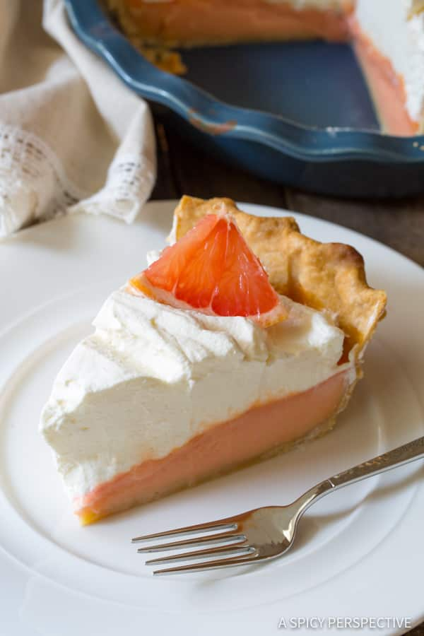 Vibrant Grapefruit Cream Pie | ASpicyPerspective.com
