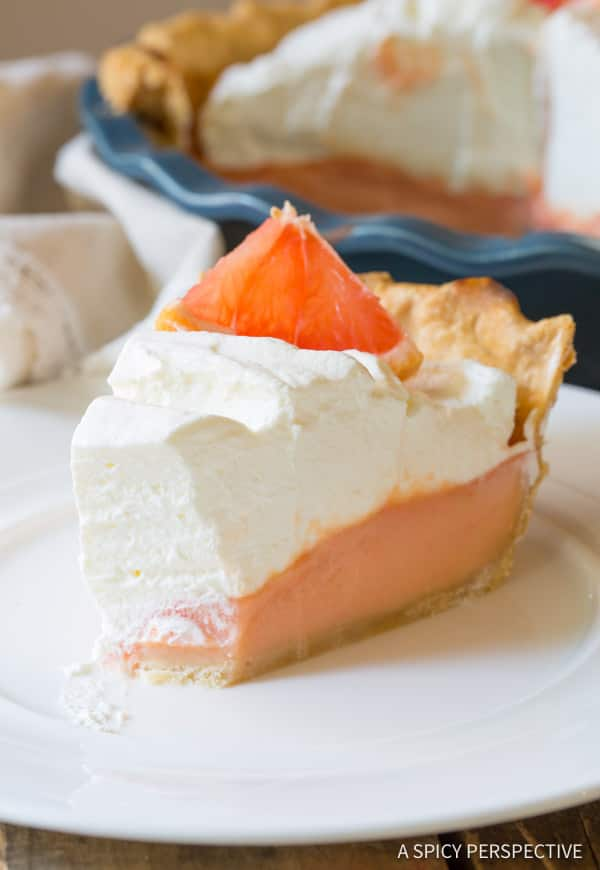 Brilliant Grapefruit Cream Pie | ASpicyPerspective.com