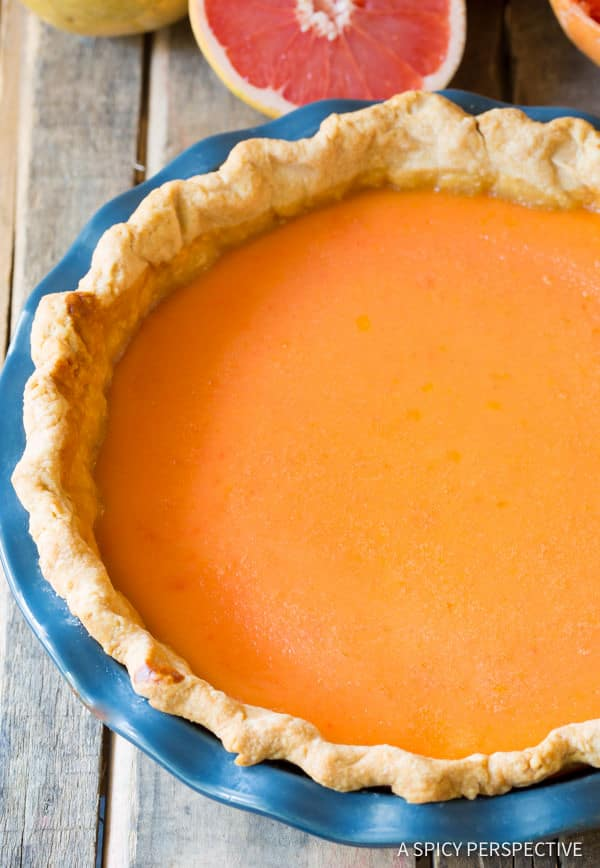 Tangy Grapefruit Cream Pie | ASpicyPerspective.com