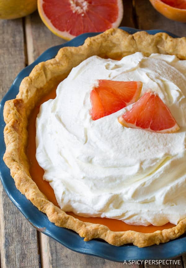 Easy to Make Grapefruit Cream Pie | ASpicyPerspective.com