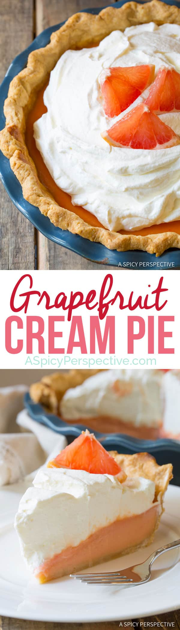 Ruby Red Grapefruit Cream Pie | ASpicyPerspective.com