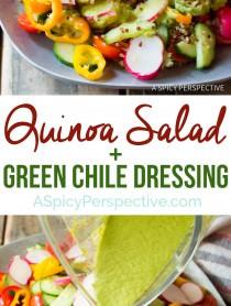 Hearty Quinoa Salad Recipe with Green Chile Dressing (Vegan & Gluten Free!)   ASpicyPerspective.com