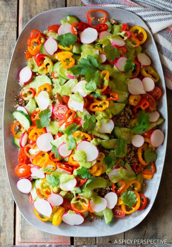Healthy Quinoa Salad Recipe with Green Chile Dressing (Vegan & Gluten Free!) | ASpicyPerspective.com