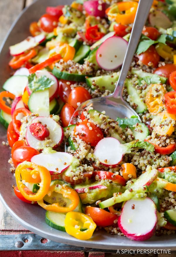 Chunky Quinoa Salad Recipe with Green Chile Dressing (Vegan & Gluten Free!) | ASpicyPerspective.com