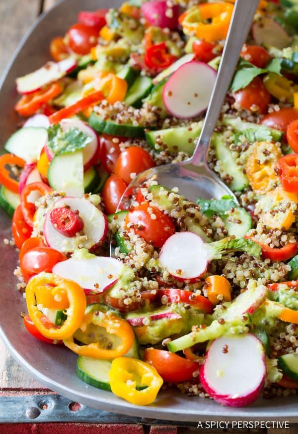 Chunky Quinoa Salad Recipe with Green Chile Dressing (Vegan & Gluten Free!) | ASpicyPerspective.com