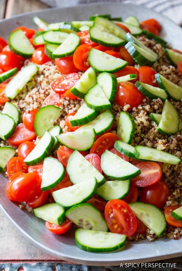 Making Quinoa Salad Recipe with Green Chile Dressing (Vegan & Gluten Free!) | ASpicyPerspective.com