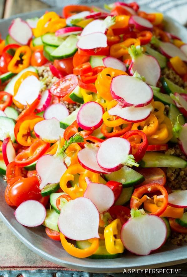 To Make: Quinoa Salad Recipe with Green Chile Dressing (Vegan & Gluten Free!) | ASpicyPerspective.com