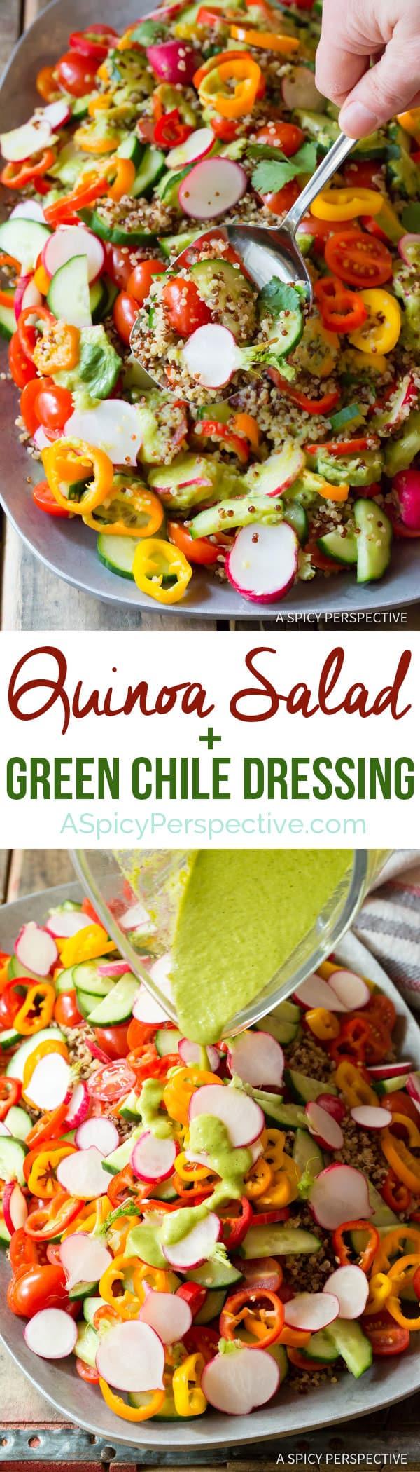 Hearty Quinoa Salad Recipe with Green Chile Dressing (Vegan & Gluten Free!) | ASpicyPerspective.com