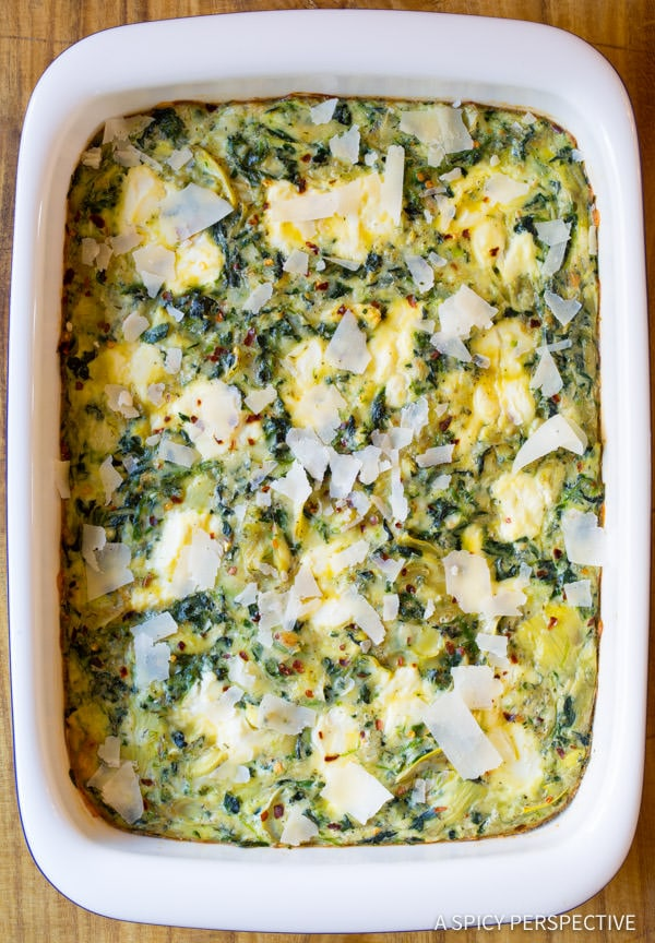 Egg Casserole #ASpicyPerspective #Egg #Casserole #EggCasserole #EggCasserole Recipe #Breakfast #Quiche #Artichoke #Spinach #ArtichokeSpinach #Ricotta #GlutenFree #LowCarb #Vegetarian