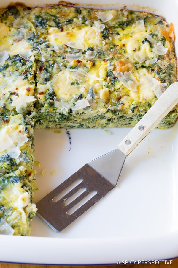 Best Spinach Artichoke Egg Casserole (Low Carb, Vegetarian & Gluten Free!) | ASpicyPerspective.com
