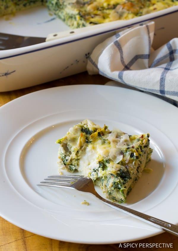 Vegetarian Casserole #ASpicyPerspective #Egg #Casserole #EggCasserole #EggCasserole Recipe #Breakfast #Quiche #Artichoke #Spinach #ArtichokeSpinach #Ricotta #GlutenFree #LowCarb #Vegetarian