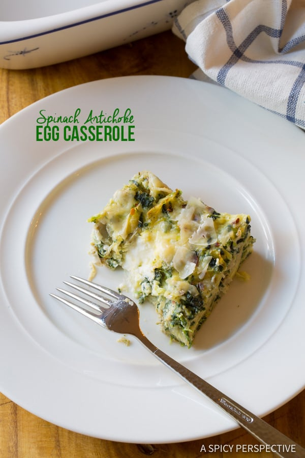 Dazzling Spinach Artichoke Egg Casserole (Low Carb, Vegetarian & Gluten Free!) | ASpicyPerspective.com
