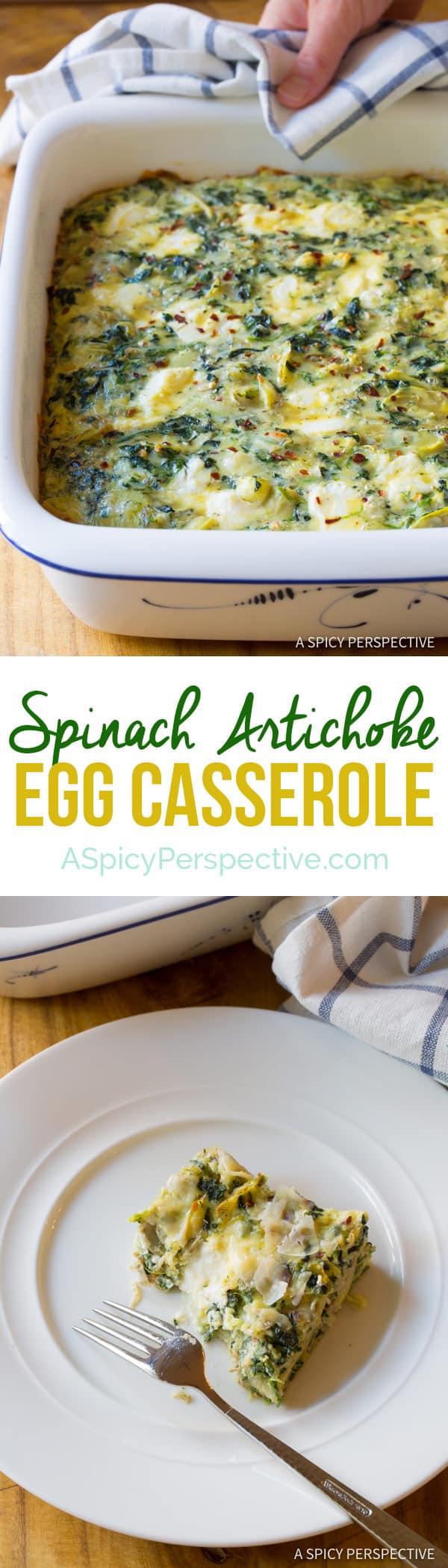 Zesty Spinach Artichoke Egg Casserole (Low Carb, Vegetarian & Gluten Free!) | ASpicyPerspective.com