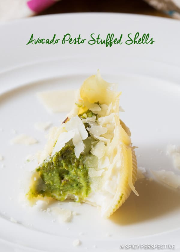 Creamy Avocado Pesto Stuffed Shells Recipe | ASpicyPerspective.com