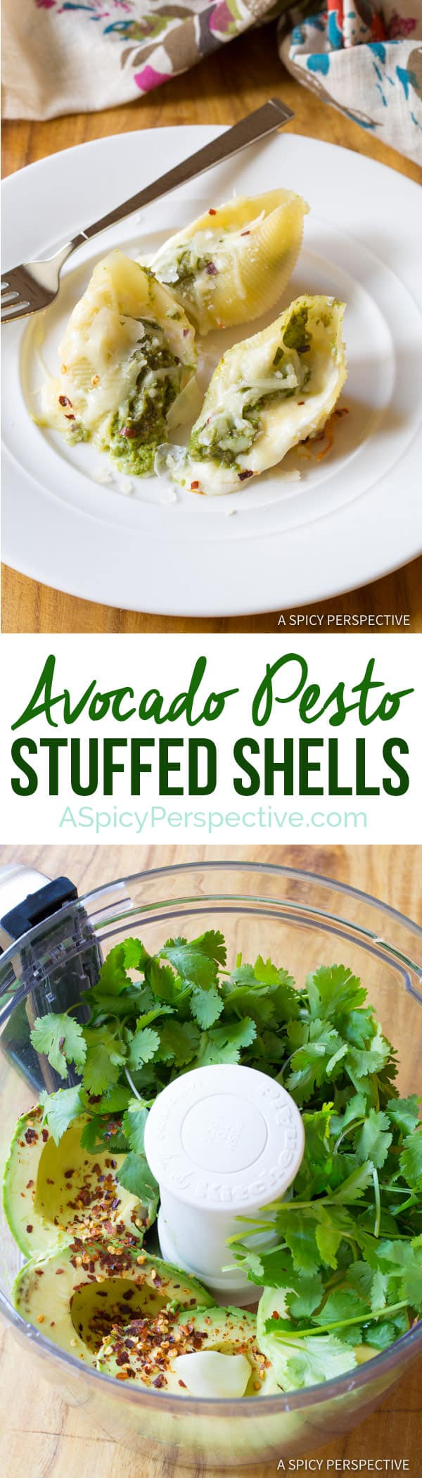 Easy Avocado Pesto Stuffed Shells Recipe | ASpicyPerspective.com