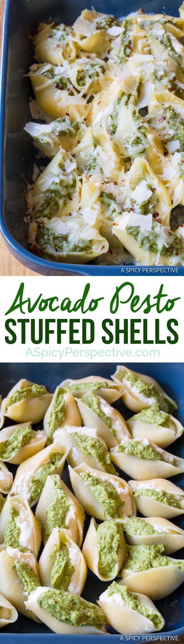 Zesty Avocado Pesto Stuffed Shells Recipe   ASpicyPerspective.com