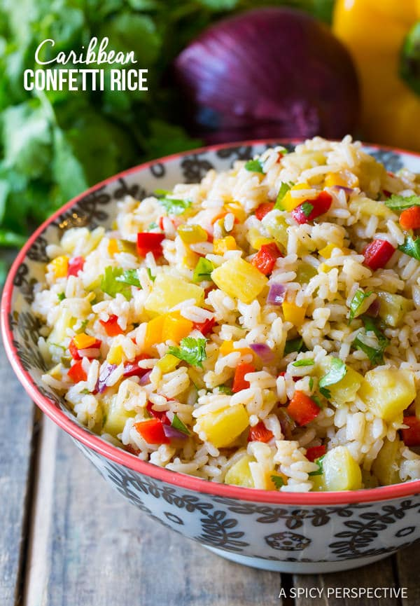 Tender Caribbean Confetti Rice Recipe | ASpicyPerspective.com