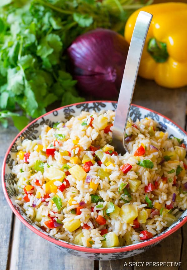 Zesty Caribbean Confetti Rice Recipe | ASpicyPerspective.com