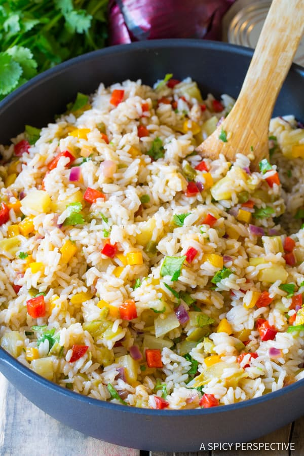 Caribbean Rice Recipe #ASpicyPerspective #Rice #Caribbean #CaribbeanRice #CaribbeanRiceRecipe #ConfettiRice #SideDish #Jalapenos #Pineapple #BellPeppers #CoconutMilk