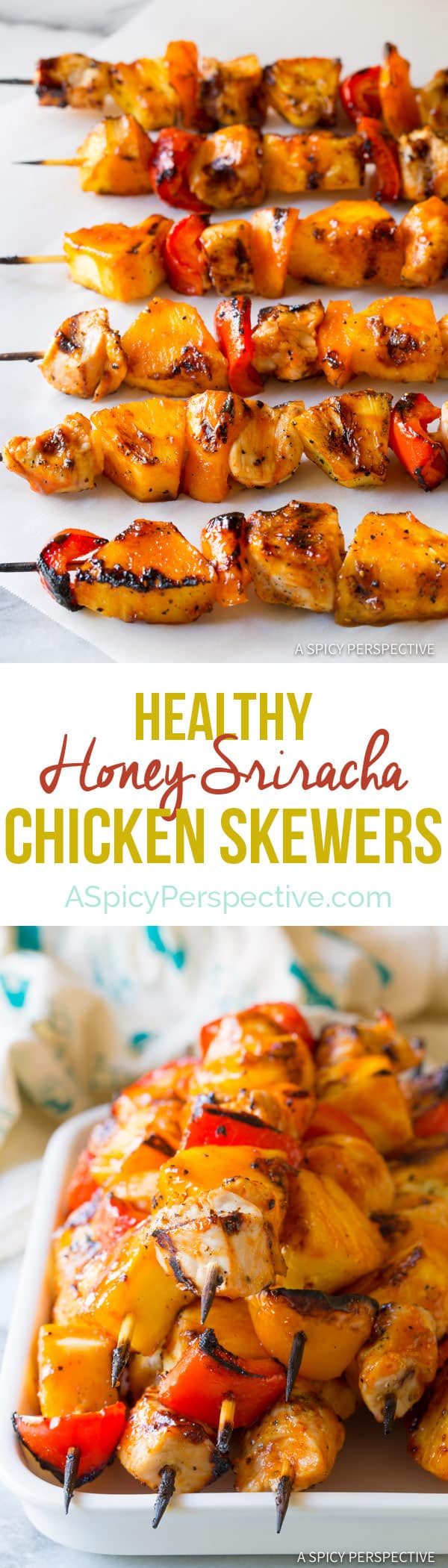 Easy to Make Honey Sriracha Chicken Skewers | ASpicyPerspective.com