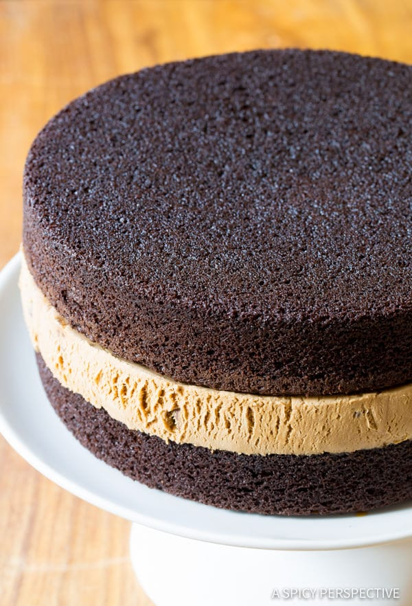 Easy to Make Chocolate Caramel Ice Cream Sandwich Cake Recipe | ASpicyPerspective.com