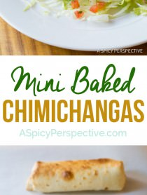 Healthy Mini Baked Chimichanga Recipe | ASpicyPerspective.com