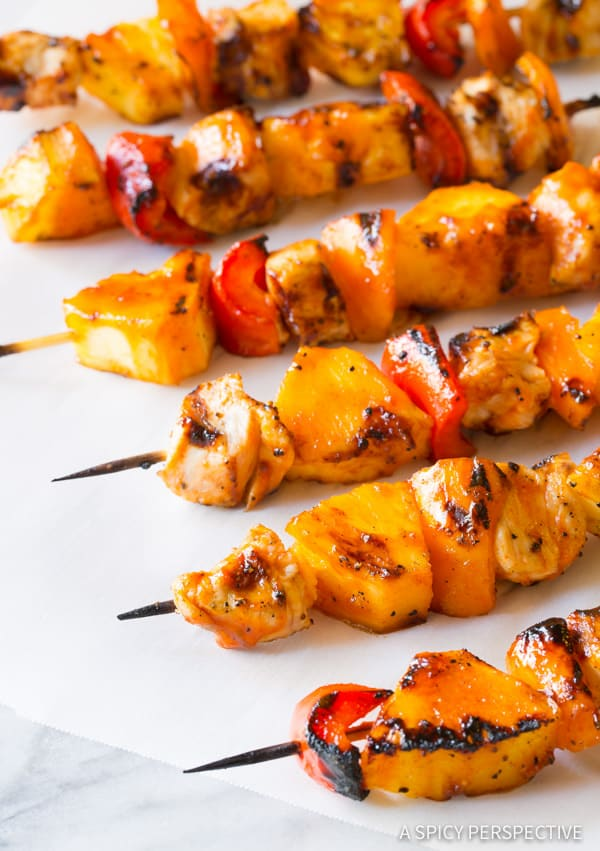 Spicy-Sweet Honey Sriracha Chicken Skewers | ASpicyPerspective.com