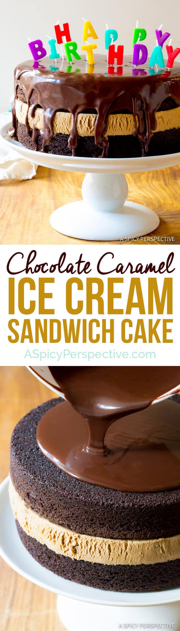 The Best Chocolate Caramel Ice Cream Sandwich Cake Recipe | ASpicyPerspective.com