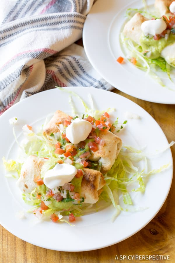 Easy Mini Baked Chimichanga Recipe | ASpicyPerspective.com