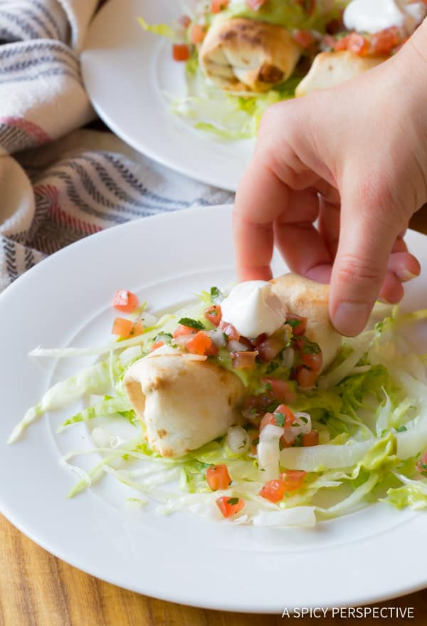 Light(er) Mini Baked Chimichanga Recipe | ASpicyPerspective.com