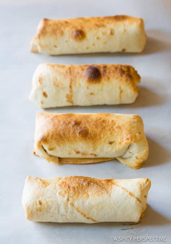 Crunchy Mini Baked Chimichanga Recipe | ASpicyPerspective.com