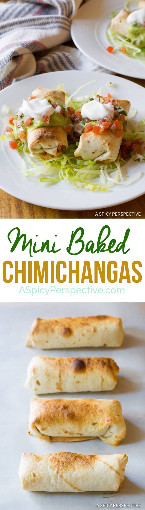 Lightened-Up Mini Baked Chimichanga Recipe | ASpicyPerspective.com