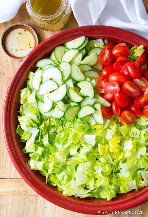 Making My Big Fat Greek Salad Recipe | ASpicyPerspective.com