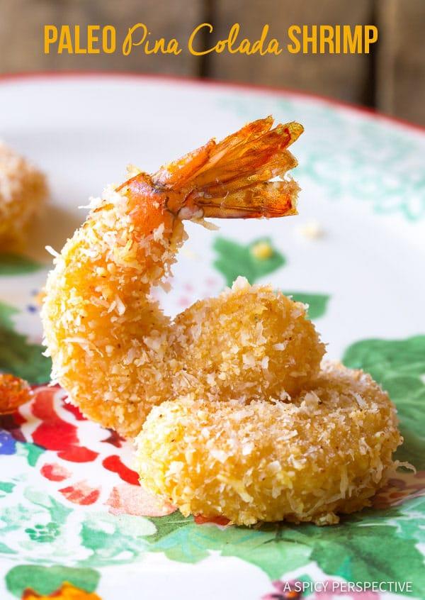 Crunchy Baked Paleo Coconut Shrimp Recipe (Pina Colada Shrimp & Gluten Free!)   ASpicyPerspective.com