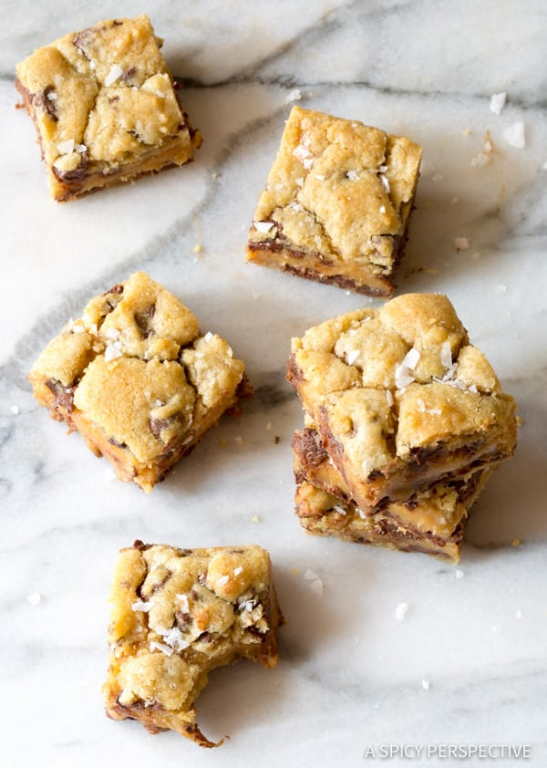 Heavenly Salted Caramel Chocolate Chip Cookie Bars | ASpicyPerspective.com