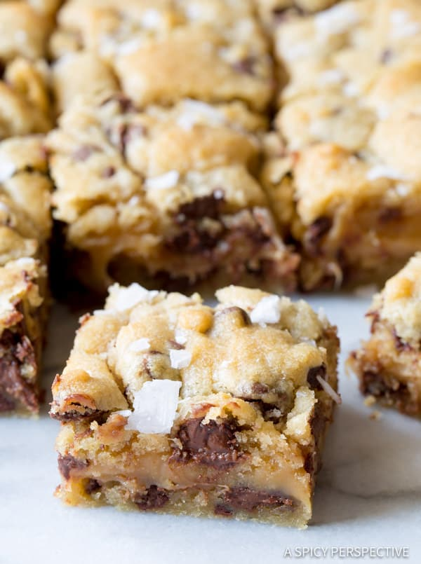 Best Gooey Salted Caramel Chocolate Chip Cookie Bars | ASpicyPerspective.com