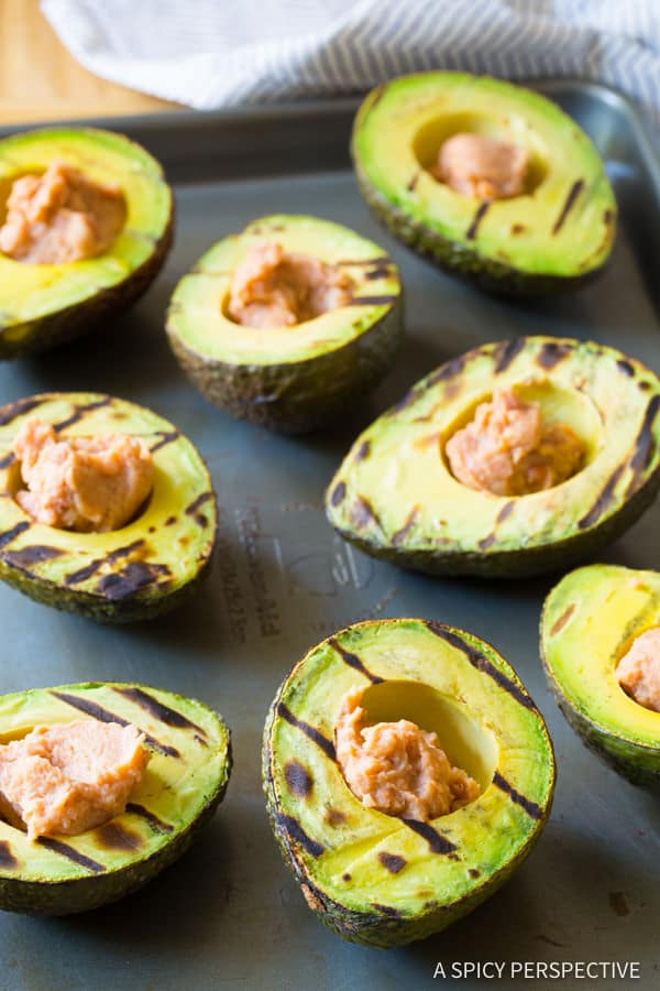 Making Healthy Grilled Tex Mex Stuffed Avocado Recipe (Low Carb & Gluten Free!) ASpicyPerspective.com