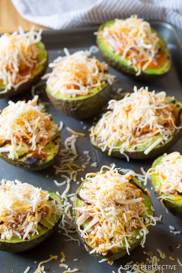 How to Make Grilled Tex Mex Stuffed Avocado Recipe (Low Carb & Gluten Free!) ASpicyPerspective.com