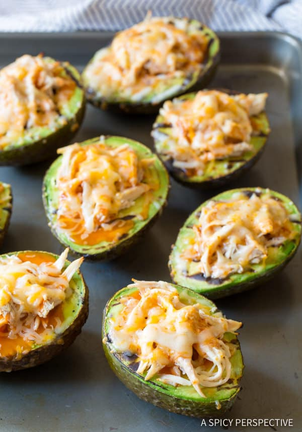 How to Make Healthy Grilled Tex Mex Stuffed Avocado Recipe (Low Carb & Gluten Free!) ASpicyPerspective.com