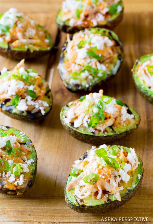 Simple Grilled Tex Mex Stuffed Avocado Recipe (Low Carb & Gluten Free!) ASpicyPerspective.com