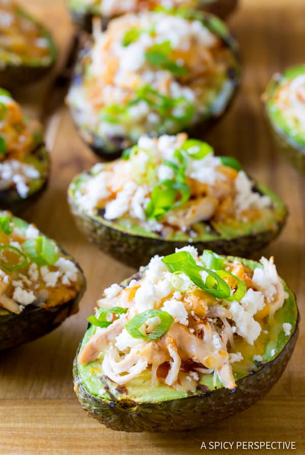 Grilled Tex Mex Stuffed Avocado Recipe (Low Carb & Gluten Free!) ASpicyPerspective.com