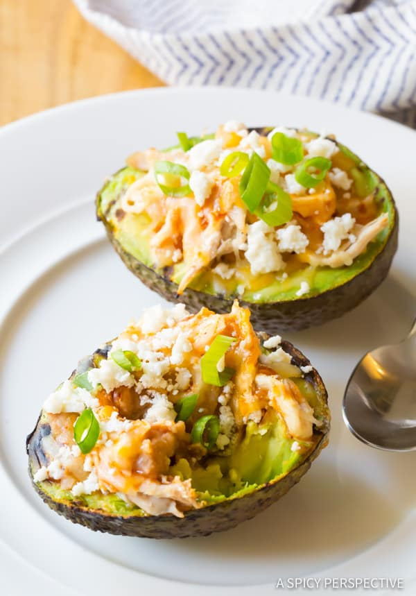 Quick Grilled Tex Mex Stuffed Avocado Recipe (Low Carb & Gluten Free!) ASpicyPerspective.com