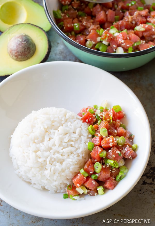 Poke and Rice #ASpicyPerspective #PokeBowl #AhiPokeBowl #PokeBowlRecipe #TunaPokeBowl #GlutenFree #HawaiianPoke #Summer #Spring #Dinner