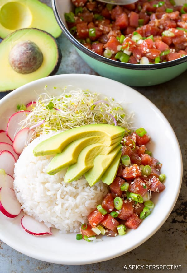 Ahi Poke Bowl #ASpicyPerspective #PokeBowl #AhiPokeBowl #PokeBowlRecipe #TunaPokeBowl #GlutenFree #HawaiianPoke #Summer #Spring #Dinner
