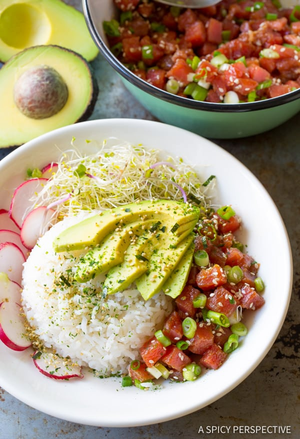 Hawaiian Ahi Poke Bowl Recipe (Gluten Free)| ASpicyPerspective.com