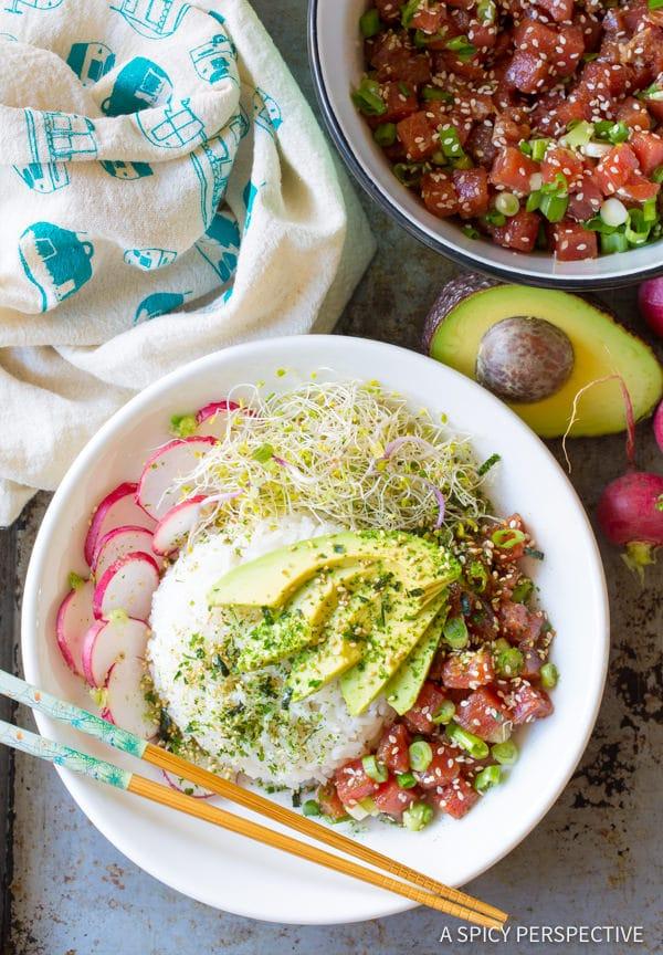 Amazing Healthy Ahi Poke Bowl Recipe (Gluten Free)| ASpicyPerspective.com