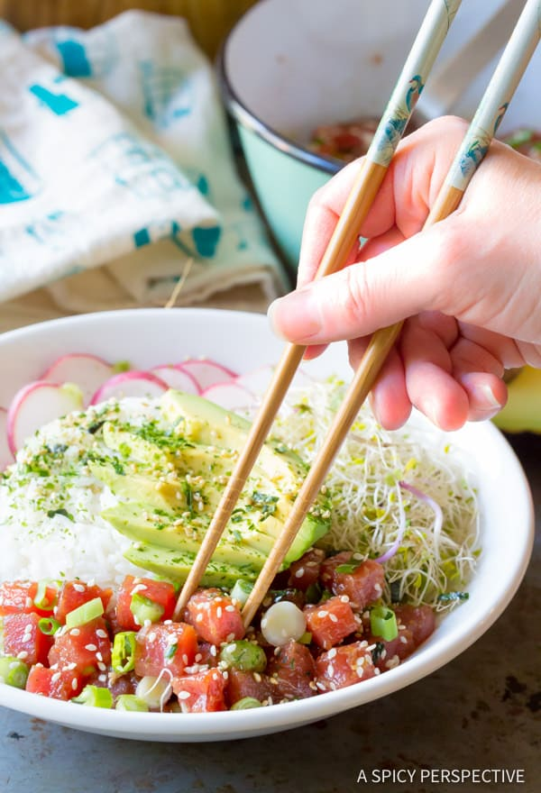 Clean Healthy Ahi Poke Bowl Recipe (Gluten Free)| ASpicyPerspective.com