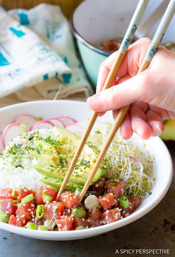 Clean Healthy Ahi Poke Bowl Recipe (Gluten Free)| ASpicyPerspective.com